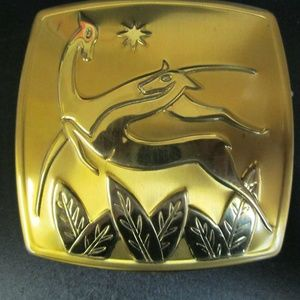 Vintage American Beauty Compact with Antelope
